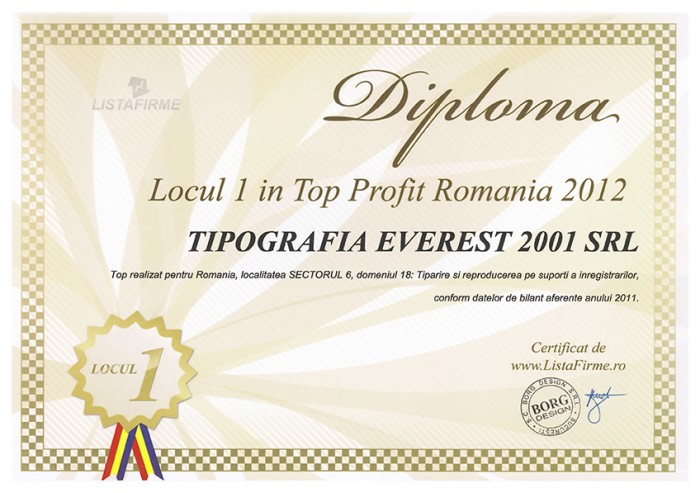 1st Position in Top Profit Romania 2012 for Printing