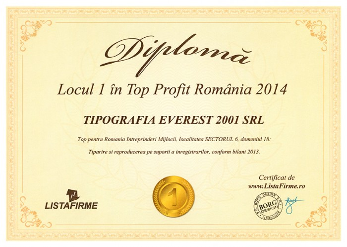 1st Position in Top Profit Romania 2014 for Printing