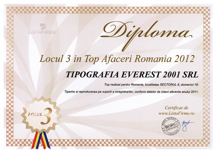 3rd Position in Top Business Romania 2012 for Printing