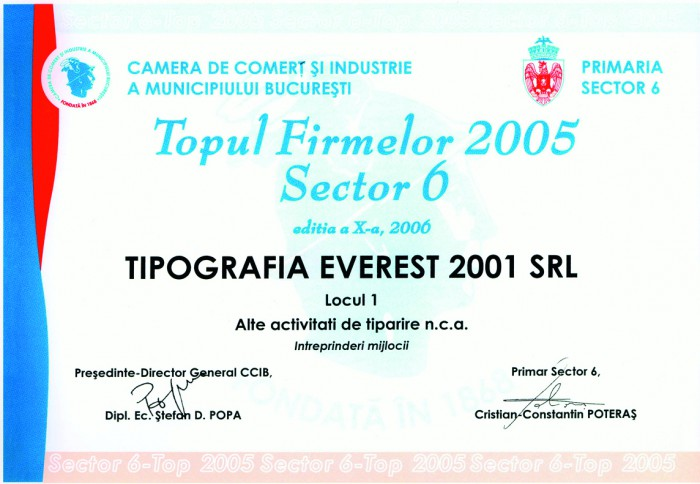 1st Position in Top Companies 2005 from Bucharest, District 6